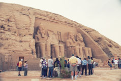 Abu Simbel in Egypt. Tone photographic film Stock Photo