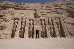 Abu Simbel Hathor-Tempel in Ägypten Lizenzfreie Stockfotografie