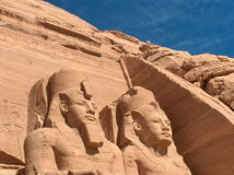 Abu Simbel. Pharaoph colossi. Egypt. Close up of Ramses colossi in Abu Simbel. Egypt Royalty Free Stock Image