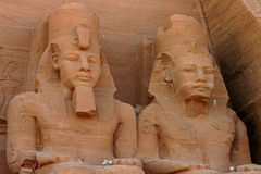Abu-Simbel Pharoah Faces in Nubia, Egypt. Close up of two pharoah heads in Abu Simbel, Egypt.  Built by King Ramesses, there are two rock temples.  Nubia, Egypt Royalty Free Stock Photography