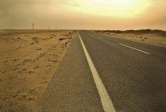Abu Simbel Road. Morning moment in the way by car to Abu Simbel temple Stock Photography
