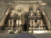 Abu Simbel - Sound and Light. Three dimension illustration of Abu Simbel Temple of King Ramses II Stock Image