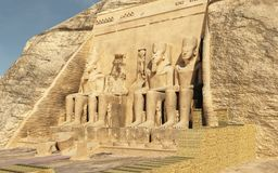 Abu Simbel Temple. Three dimension illustration of Abu Simbel Temple of King Ramses II Royalty Free Stock Photo
