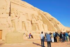 Abu Simbel temple. Tourists gathered outside Abu Simbel temple in Egypt Stock Image