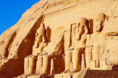 Abu Simbel temple in Egypt. Front side of Abu Simbel temple in Egypt Royalty Free Stock Images