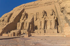 Abu Simbel Temple in Egypt. Abu Simbel Temple of King Ramses II, a masterpiece of pharaonic arts and buildings in Old Egypt Royalty Free Stock Image