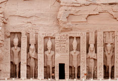 Abu Simbel temple of hathor (Nefertari), Egypt. Temple of Hathor, dedicated to the wife of Ramses II, wife Nefertari.  Built in 1274-1244 BC. .  The temples Stock Image