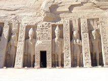 Abu Simbel Temple - Nefertari. The Hathor Temple consecrate  from Ramses II to honour his most love wife: Nefertari. The facade,like also all temple, alternate Royalty Free Stock Photos