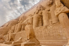Abu Simbel temple of Ramses II, Egypt. Temples of Ramses II.  Built in 1274-1244 BC.  Huge statues guarding the southern borders of Egypt.  The temples were Royalty Free Stock Photos
