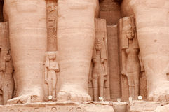 Abu Simbel temple of Ramses II, Egypt. Detail of the temple of Ramses II showing the wife and children of the pharaoh.  Built in 1274-1244 BC.   The temples Stock Image