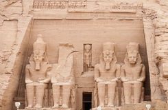 Abu Simbel temple of Ramses II, Egypt. Temples of Ramses II.  Built in 1274-1244 BC.  Huge statues guarding the southern borders of Egypt.  The temples were Stock Photography