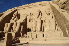 Abu Simbel temple. The Abu Simbel temples are two massive rock temples at Abu Simbel, a village in Nubia, southern Egypt, near the border with Sudan royalty free stock images