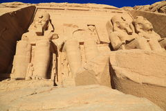 Abu Simbel temple. The Abu Simbel temples are two massive rock temples at Abu Simbel, a village in Nubia, southern Egypt, near the border with Sudan stock image