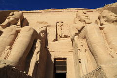Abu Simbel temple. The Abu Simbel temples are two massive rock temples at Abu Simbel, a village in Nubia, southern Egypt, near the border with Sudan stock photography
