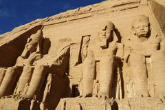 Abu Simbel temple. The Abu Simbel temples are two massive rock temples at Abu Simbel, a village in Nubia, southern Egypt, near the border with Sudan stock photos