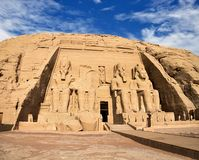 Abu Simbel temples, Ancient South Egypt. The Abu Simbel temples are two great rock temples in Abu Simbel, a village in Nubia, in southern Egypt, near the border royalty free stock photography