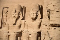 Abu Simbel temples, Ancient South Egypt. The Abu Simbel temples are two great rock temples in Abu Simbel, a village in Nubia, in southern Egypt, near the border stock image