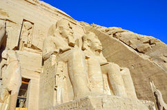 Abu Simbel Temples. Colossal statues at Abu Simbel Temples in Egypt royalty free stock photography