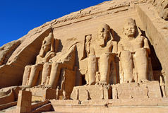 Abu Simbel Temples. Colossal statues at Abu Simbel Temples in Egypt royalty free stock photos