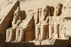 Abu Simbel Temples. Colossal statues at Abu Simbel Temples in Egypt stock photos