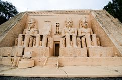 The Abu Simbel temples at miniature park is an open space that displays miniature buildings and models. royalty free stock image