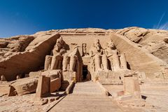 Abu Simbel temples the two massive rock temples at Abu Simbel village in Nubia southern Egypt. Egyptian civilization history well preserved at one of the most royalty free stock images