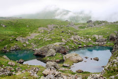 Abudelauri lake in Khevsureti (Georgia). Abudelauri lakes are three lakes, which are strikingly different colors. Khevsureti / Khevsuria is a historical Royalty Free Stock Photo