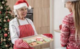 Abuela abundante que da a los pasteles hecho a sí mismos del día de fiesta del niño imágenes de archivo libres de regalías