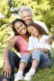 Abuela afroamericana, madre e hija relajándose en parque Imagen de archivo libre de regalías