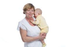 Abuela con el bebé Fotos de archivo