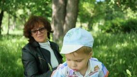 Abuela con jugar de reclinación del niño en el parque Infle las burbujas de jabón Reconstrucción al aire libre almacen de video