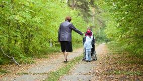 Abuela con los nietos que caminan en el parque metrajes
