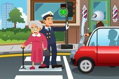 Abuela de ayuda del policía que cruza la calle ilustración del vector