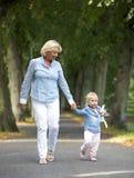 Abuela que camina con el bebé en parque Imágenes de archivo libres de regalías