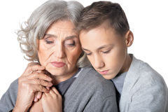 Abuela trastornada con su nieto Fotos de archivo