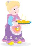 Abuelita con las empanadas stock de ilustración