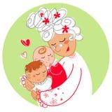 Abuelita con los gemelos del bebé Imagen de archivo
