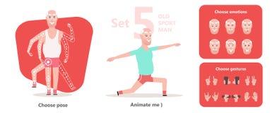 Abuelo activo y sano Hombre de la actitud de la yoga viejo ilustración del vector
