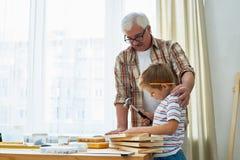 Abuelo cariñoso y Little Boy que hacen modelos de madera juntos foto de archivo libre de regalías