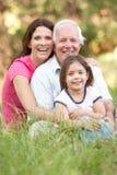 Abuelo, hija y nieta en parque Fotografía de archivo libre de regalías