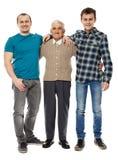 Abuelo, hijo y nieto aislados en blanco Fotos de archivo libres de regalías
