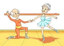 Abuelo a la lección de la danza stock de ilustración