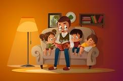 Abuelo que se sienta con los nietos en un sofá acogedor con el libro, lectura y contando a libro historia del cuento de hadas Muc ilustración del vector