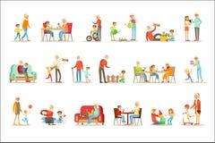 Abuelo y abuela que pasan el tiempo que juega con los nietos, los pequeños muchachos y las muchachas con sus abuelos fijados stock de ilustración