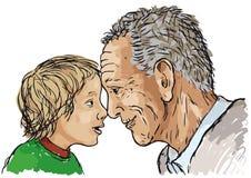 Abuelo y nieto ilustración del vector