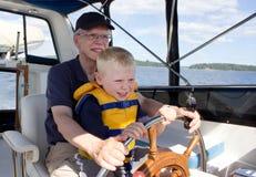 Abuelo y nieto en aventura Imagen de archivo