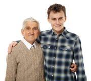 Abuelo y nieto felices Imagen de archivo libre de regalías