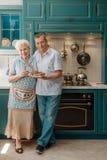 Abuelos alegres en su cocina imagen de archivo libre de regalías