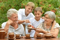 Abuelos con la consumición de los nietos fotografía de archivo libre de regalías