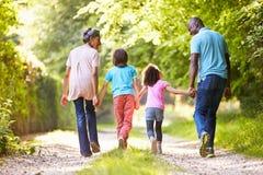 Abuelos con los nietos que caminan a través de campo Imagen de archivo libre de regalías